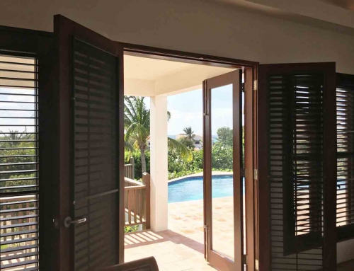 Beach Palm French Doors to Pool