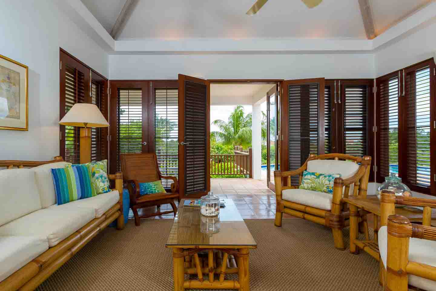 Beach Palm Villa Living Room French Doors