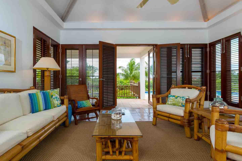 Beach Palm Villa Living Room French Doors