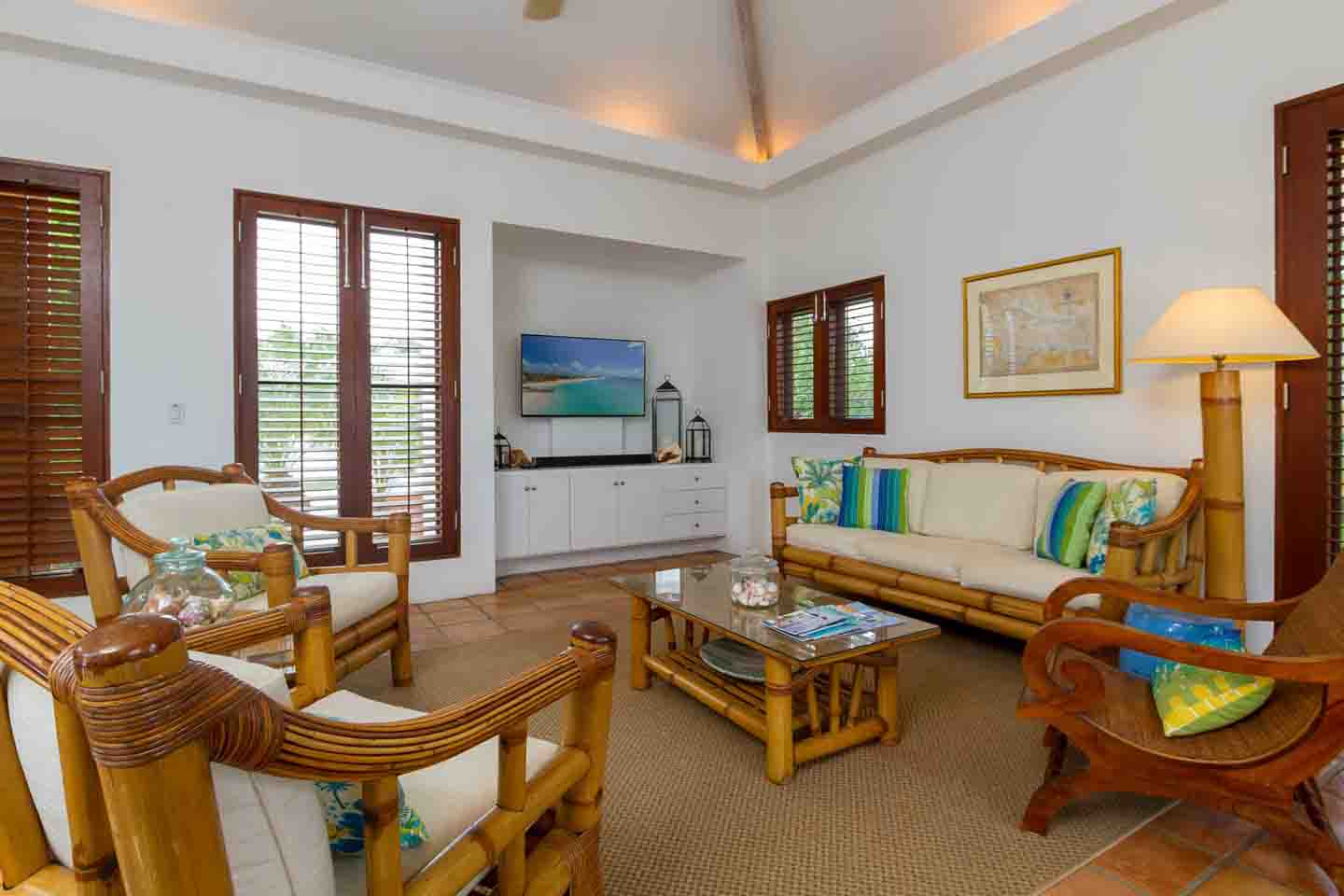 Beach Palm Villa Living Room with TV View