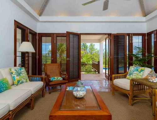 Coconut Palm Villa Living Room French Doors View