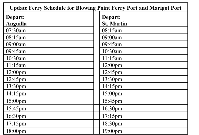 Anguilla Ferry Schedule 2020